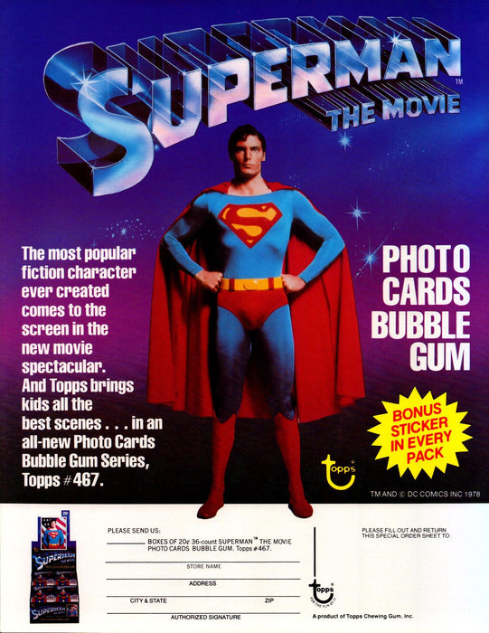 Superman The Movie Trading Cards Dealer Sell Sheet Sale Ad Topps 1978   - TvMovieCards.com