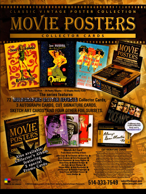 Classic Vintage Movie Posters Trading Card Dealer Sell Sheet Sale Ad Breygent 20   - TvMovieCards.com