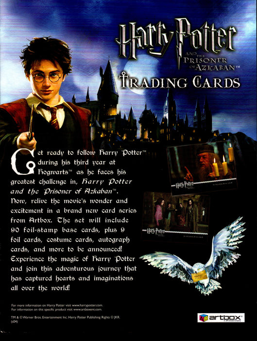 Harry Potter Prisoner of Azkaban Trading Dealer Sell Sheet Sale Ad 2004   - TvMovieCards.com