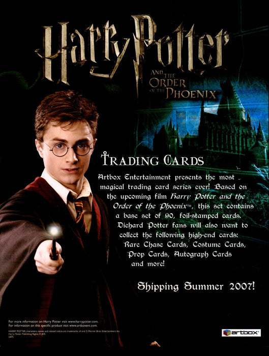 Harry Potter Order of the Phoenix Trading Card Dealer Sell Sheet Sale Ad 2007   - TvMovieCards.com