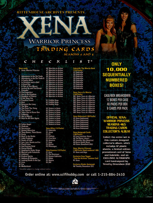 Xena Warrior Princess Seasons 4 & 5 Trading Card Dealer Sell Sheet Sale Ad 2001   - TvMovieCards.com