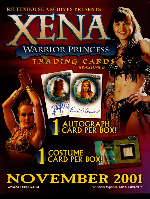 Xena Warrior Princess Season 6 Trading Card Dealer Sell Sheet Sale Ad 2001