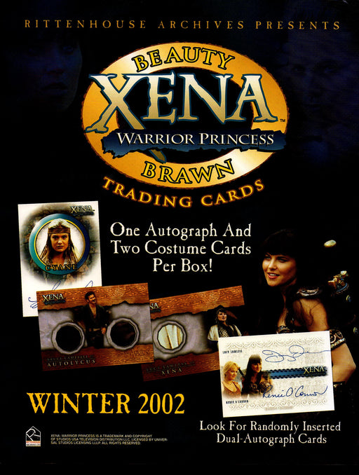 Xena Warrior Princess Brawn & Beauty Trading Card Dealer Sell Sheet Sale Ad 2002   - TvMovieCards.com