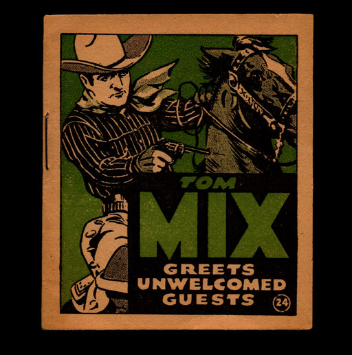 Tom Mix Greets Unwelcomed Guests Adventure Stories #24 1934 National Chicle Gum   - TvMovieCards.com