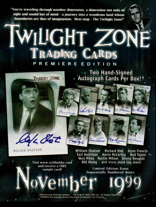The Twilight Zone Premiere Edition Trading Card Dealer Sell Sheet Sale Ad 1999   - TvMovieCards.com