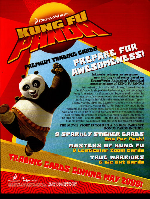 Kung Fu Panda Trading Card Dealer Sell Sheet Promotional Sale Inkworks 2008   - TvMovieCards.com