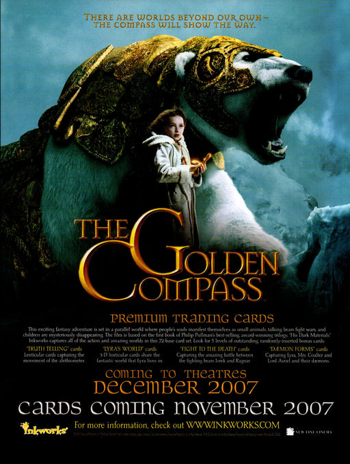 The Golden Compass Trading Card Dealer Sell Sheet Promotional Sale Inkworks 2007   - TvMovieCards.com