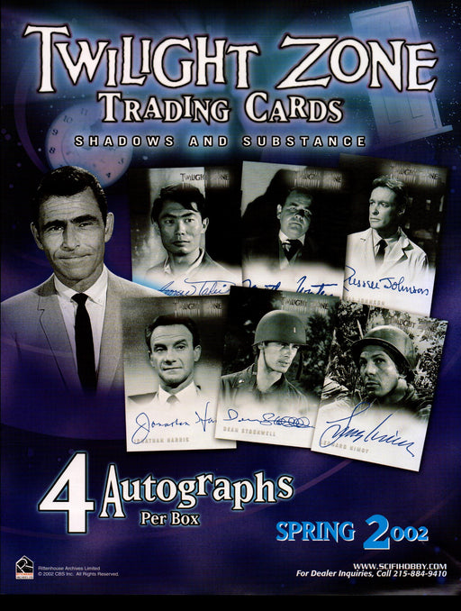 The Twilight Zone Shadows & Substance Trading Card Dealer Sell Sheet Sale 2002   - TvMovieCards.com