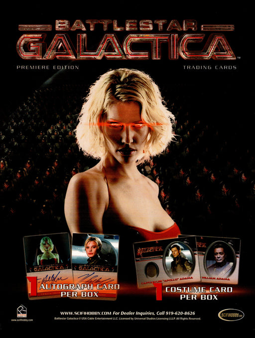 Battlestar Galactica Premiere Edition Trading Card Dealer Sell Sheet Sale Ad   - TvMovieCards.com