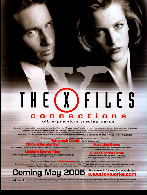 X-Files Connections Trading Card Dealer Sell Sheet Promotional Sale 2005   - TvMovieCards.com