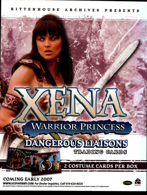 Xena Dangerous Liaisons Trading Card Dealer Sell Sheet Sale Promo Ad 2007   - TvMovieCards.com