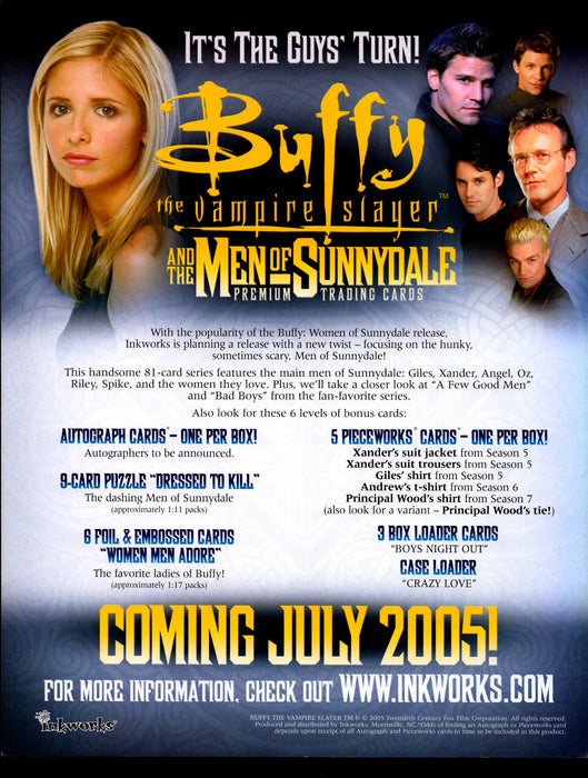 Buffy MOS Men of Sunnydale Trading Card Dealer Sell Sheet Sale Promo Ad 2005   - TvMovieCards.com