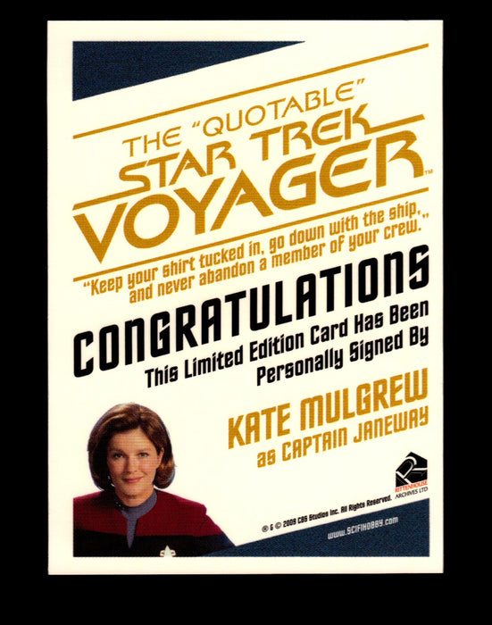 The Quotable Star Trek Voyager Kate Mulgrew as Captain Janeway Autograph Card   - TvMovieCards.com