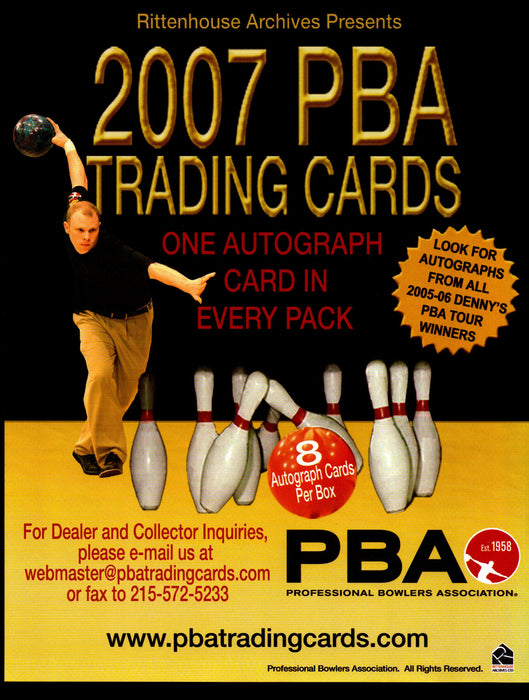 PBA Professional Bowlers Assoc Trading Card Dealer Sell Sheet Sale Promo Ad 2007   - TvMovieCards.com