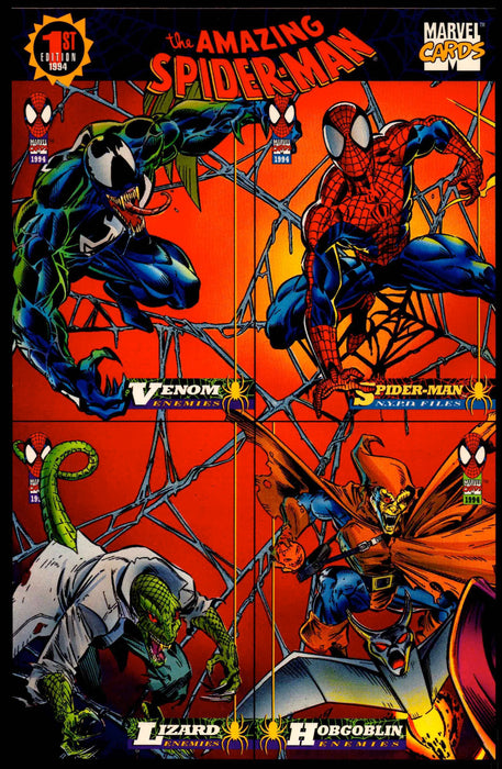 1994 The Amazing Spiderman 1st Ed. Uncut 4 Card Promo Sheet Fleer Trading Cards   - TvMovieCards.com