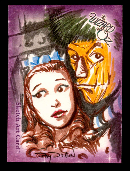 "Wizard of Oz Sketch Card by Ray Dillon ""Dorothy & Scarecrow"" Breygent 2006   - TvMovieCards.com"