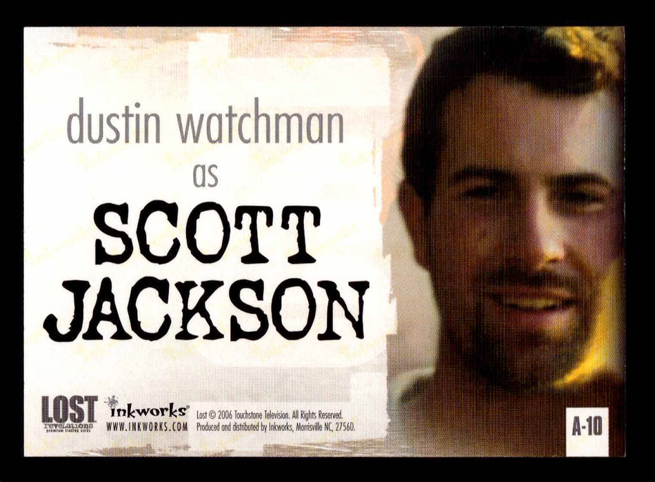 Lost Revelations A-10 Dustin Watchman as Scott Jackson Autograph Card   - TvMovieCards.com