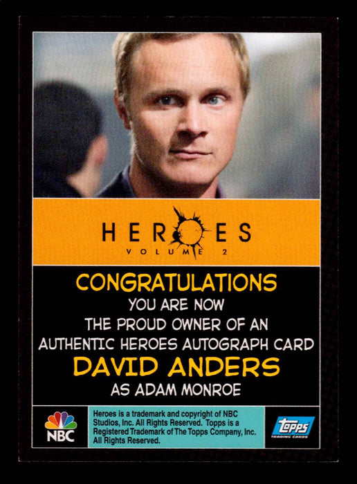 Heroes Volume 2 David Anders as Adam Monroe Autograph Card Topps 2008   - TvMovieCards.com
