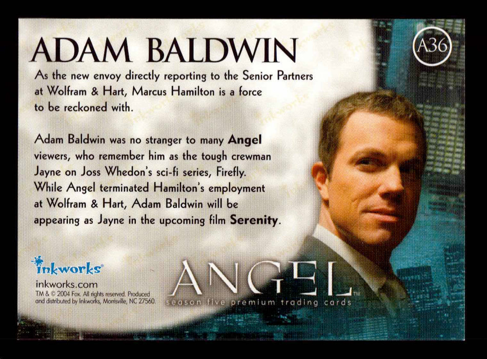 Angel Season 5 A36 Adam Baldwin as Hamilton Autograph Trading Card Inkworks   - TvMovieCards.com