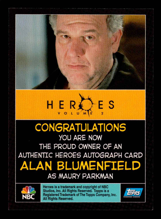 Heroes Volume 2 Alan Blumenfield as Maury Parkman Autograph Card Topps 2008   - TvMovieCards.com