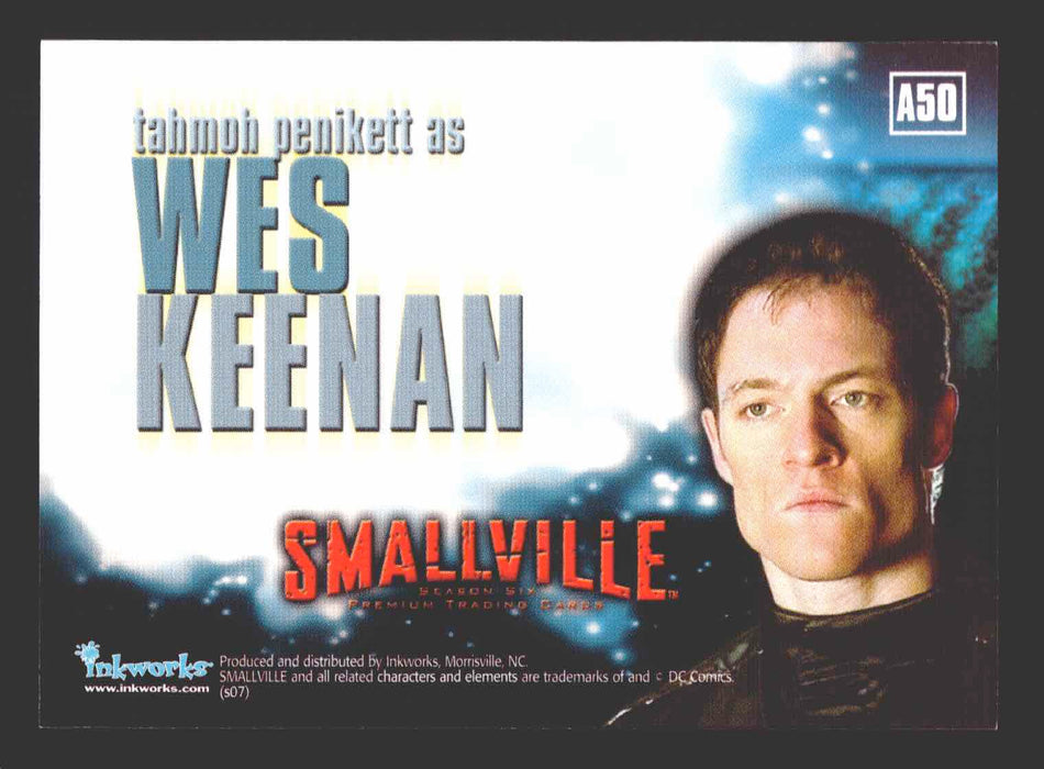 Smallville Season 6 Tahmoh Penikett as Wes Keenan A50 Autograph Card   - TvMovieCards.com