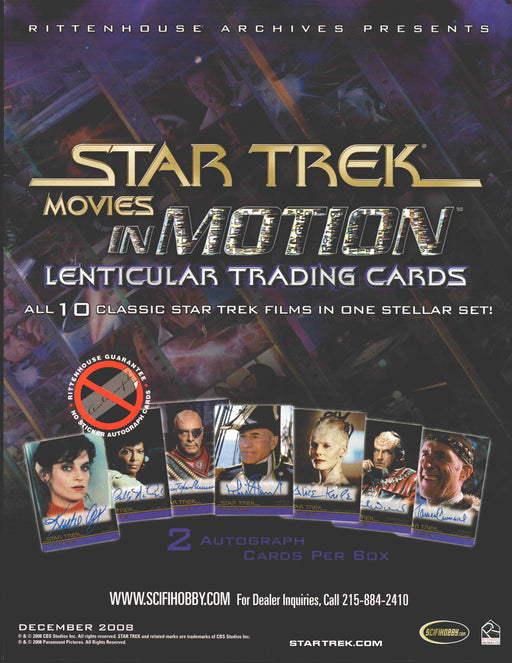 Star Trek Movies in Motion Trading Card Dealer Sell Sheet Sale Promo Ad 2008   - TvMovieCards.com
