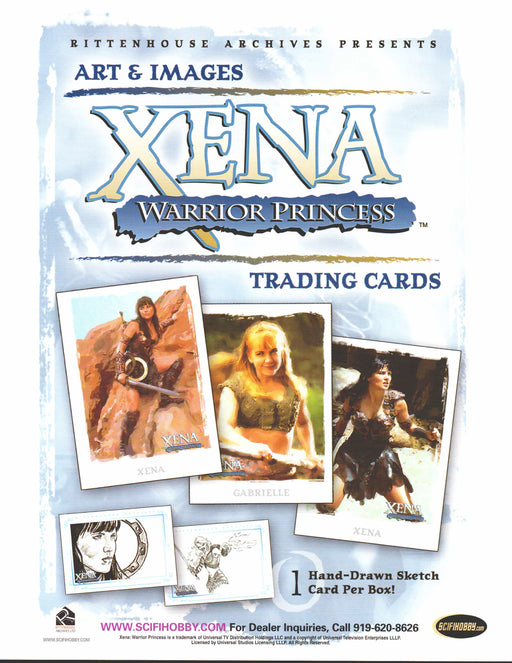 Xena Warrior Princess Art & Images Trading Card Dealer Sell Sheet Sale Ad 2004   - TvMovieCards.com