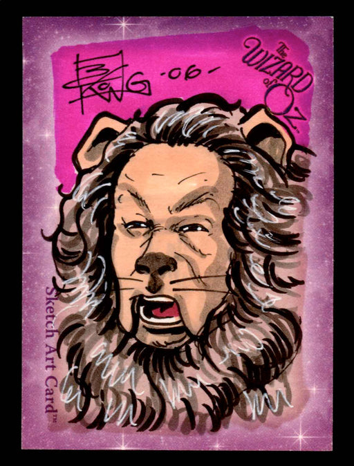 "Wizard of Oz Sketch Card by Brian Kong Color ""Cowardly Lion"" Breygent 2006   - TvMovieCards.com"