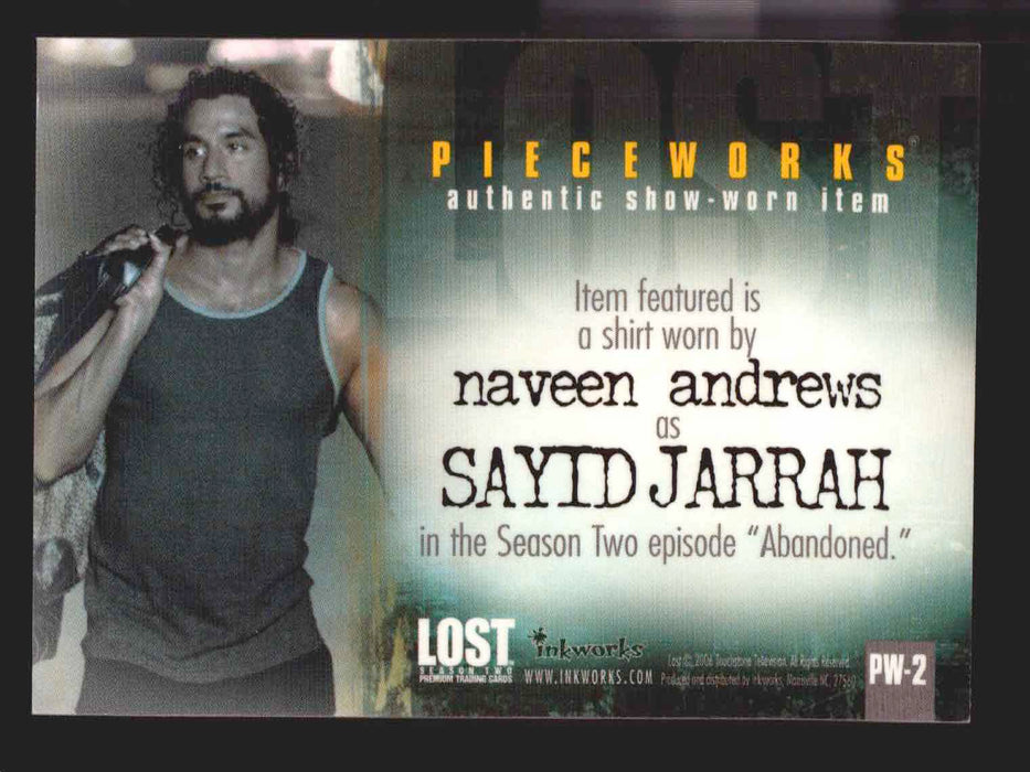 Lost Season 2 Two PW-2 Naveen Andrews as Sayid Pieceworks Costume Card   - TvMovieCards.com