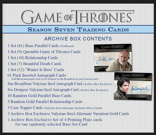 Game of Thrones Season 7 Archive A + B Card Box   - TvMovieCards.com