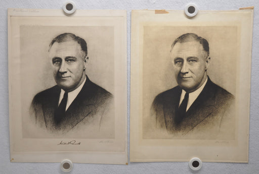 FDR Franklin D. Roosevelt Portrait with Signature Etching Print 1933 WM Stevens