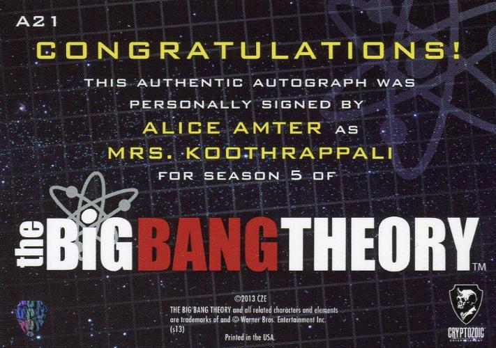 Big Bang Theory Season 5 Alice Amter As Mrs Koothrappali Autograph Ca Tvmoviecards Com Koothrappali, the big bang theory, sitcoms and of course.the apocalypse!! tv movie cards 1 seller of tv and movie trading cards collectibles