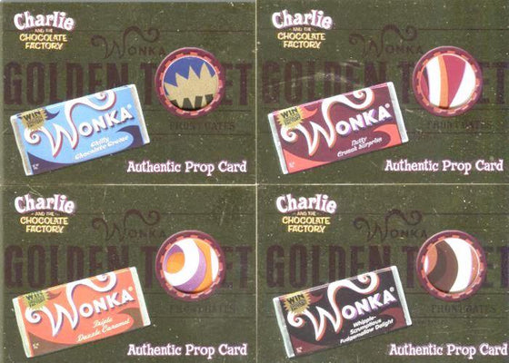 Charlie & Chocolate Factory Golden Ticket Candy Wrapper Comic Con Prop Card Set Front