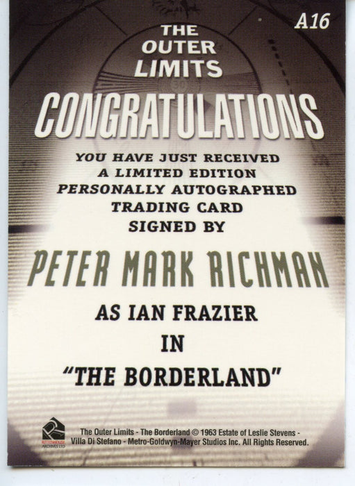 Outer Limits Premiere Autograph Card A16 Peter Mark Richman as Ian Frazier   - TvMovieCards.com
