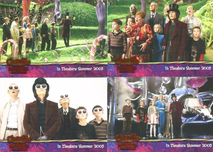 Charlie & Chocolate Factory Orange Foil Promo Card Set 4 Cards Front