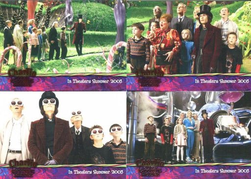 Charlie & Chocolate Factory Pink Foil Promo Card Set 4 Cards   - TvMovieCards.com