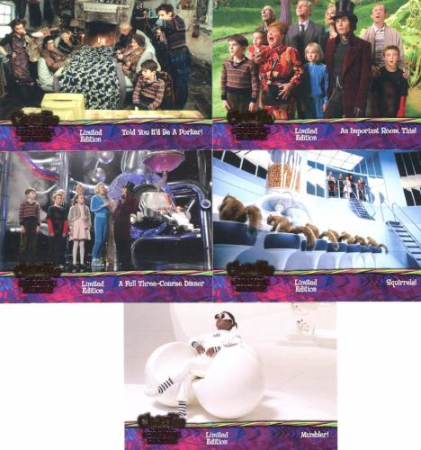 Charlie & Chocolate Factory Pink Foil DVD Promo Card Set 5 Cards   - TvMovieCards.com