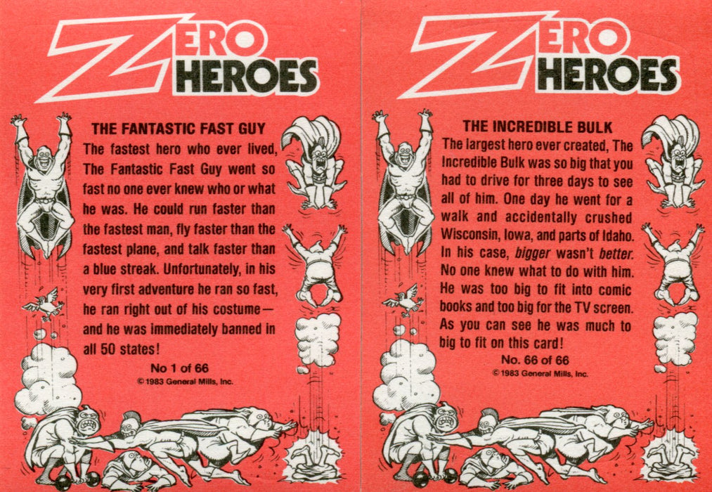 Zero Heroes Vintage Sticker Card Set 66 Sticker Cards General Mills Donruss 1983   - TvMovieCards.com