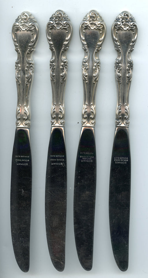 4 Melrose Modern Knives 9-1/8 inch by Gorham Sterling Silver Handle   - TvMovieCards.com