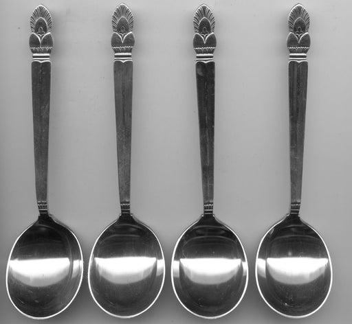 4 Princess Ingrid Cream Soup Spoons by Frank M. Whiting Sterling Silver 6-1/4 In   - TvMovieCards.com
