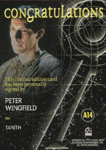 Stargate SG-1 Season Four Peter Wingfield as Tanith Autograph Card A14   - TvMovieCards.com