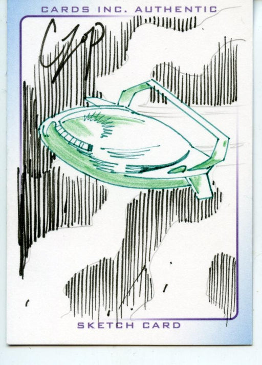 Thunderbirds Are Go! Movie Sketch Card by Czop Colored Green Spaceship   - TvMovieCards.com