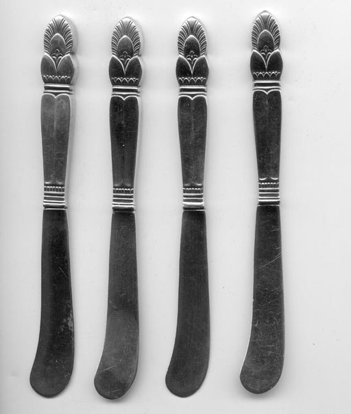 4 Princess Ingrid Flat Butter Knives by Frank M. Whiting Sterling Silver 6 Inch   - TvMovieCards.com