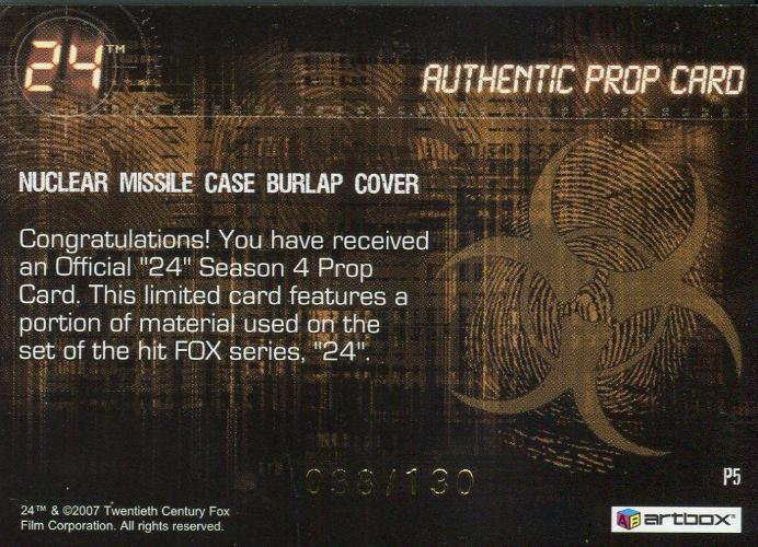 24 Twenty Four Season 4 Expansion Missile Case Cover Prop Card P5 #038/130   - TvMovieCards.com