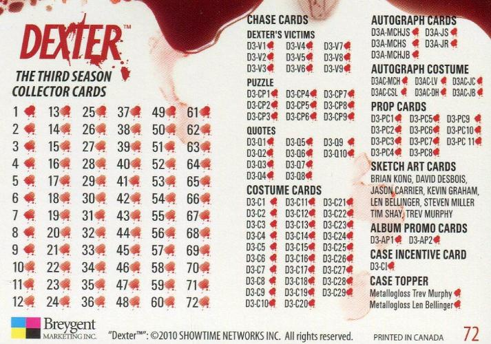 Dexter Season 3 Base Card Set 72 Cards Breygent 2010   - TvMovieCards.com