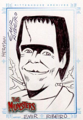 Munsters (2005) Artist Emil Ribeiro Autograph Sketch Card Herman Munster Front