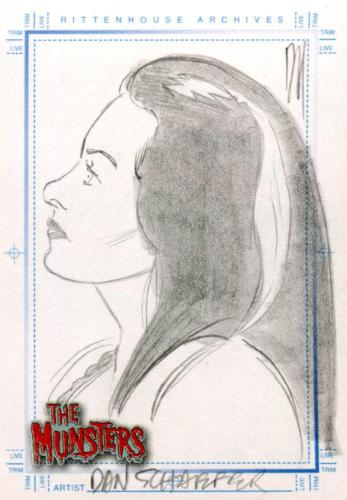Munsters (2005) Artist Dan Schaefer Autograph Sketch Card Lily Munster   - TvMovieCards.com