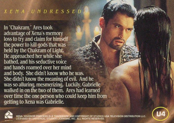 Xena Seasons 4 and 5 Xena Undressed Chase Card U4   - TvMovieCards.com
