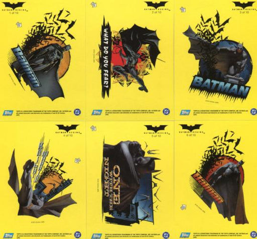Batman Begins Movie Sticker Chase Card Set 10 Sticker Cards Topps 2005