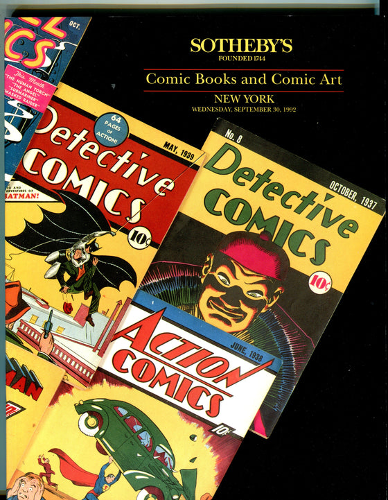 Sothebys Auction Catalog Sept 30 1992 Comic Books and Comic Art
